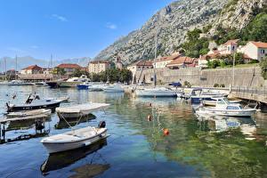 Images Montenegro Houses Berth Speedboat Bay Kotor Bay Cities