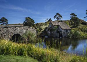 Hintergrundbilder Neuseeland Flusse Gebäude Brücken Gras Wassermühle Buckland Waikato