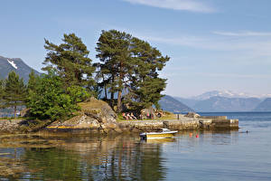 Pictures Norway Berth Bay Trees Balestrand Nature