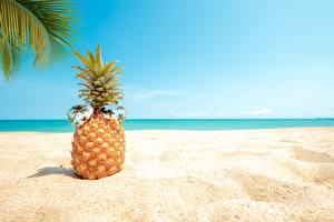 Wallpapers Pineapples Sand Glasses Beach