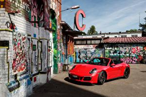 Photo Porsche Red Metallic Convertible 2017 911 Carrera 4 GTS Cabriolet Worldwide automobile