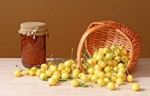 Hintergrundbilder Konfitüre Kirsche Weidenkorb Einweckglas Gelb Kinder