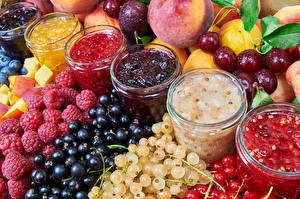 Bilder Powidl Himbeeren Johannisbeeren Obst Beere Weckglas Lebensmittel