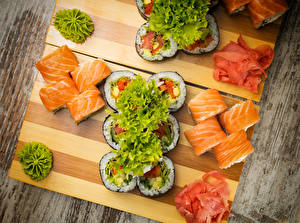 Image Seafoods Sushi Vegetables Cutting board Food