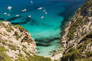 Bilder Spanien Küste Schiffe Felsen Formentera Pityusic Islands Natur