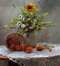Pictures Still-life Camomiles Snapdragons Sunflowers Apricot Vase Flowers Food