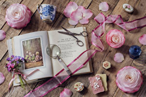 Pictures Still-life Roses Bouquets Wood planks Pink color Petals Book Ribbon Cup flower