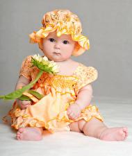 Fotos Sonnenblumen Baby Kleine Mädchen Kleid Der Hut Blick Kinder
