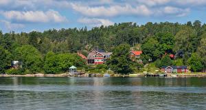 Fotos Schweden Haus Flusse Wälder Bootssteg Vaxholm Städte