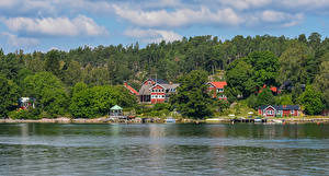 Image Sweden Houses River Forests Berth Vaxholm Cities