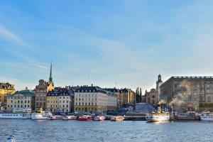 Bilder Schweden Stockholm Haus Seebrücke Schiffe Bucht Städte