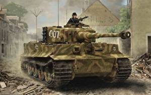 Pictures Tank Painting Art German Tiger I, Late Production