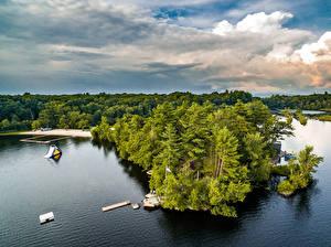 Fotos Vereinigte Staaten See Bootssteg New York City Bäume Mastens Lake Natur