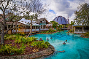 Pictures USA Parks Disneyland Pond Houses California Anaheim HDRI Design Nature