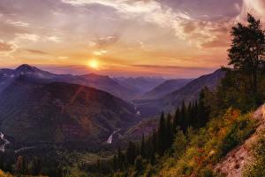 Hintergrundbilder USA Park Gebirge Sonnenaufgänge und Sonnenuntergänge Himmel Landschaftsfotografie Canyon Glacier National Park Natur