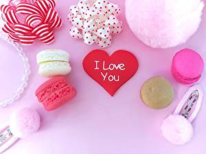 Papéis de parede Dia dos Namorados Coração Macaron Alimentos