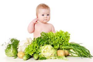 Bilder Gemüse Weißer hintergrund Baby Blick Kinder