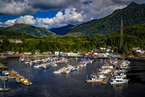 Photo Alaska Building Mountains Forests Marinas Yacht Motorboat Ketchikan Cities