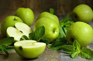 Wallpapers Apples Green Leaf Food