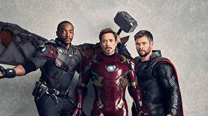 Hintergrundbilder Avengers: Infinity War Iron Man Held Thor Held Robert Downey Jr Chris Hemsworth Mann Anthony Mackie Film Prominente