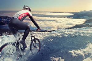 Fotos Fahrrad Uniform Bewegung Schnee