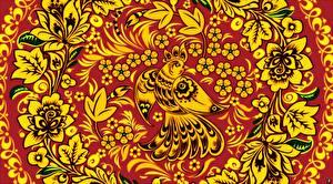 Bilder Vögel Textur Russische Khokhloma Blumen