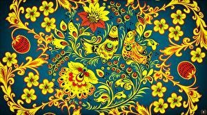 Fotos Vögel Textur Russische Khokhloma Blumen