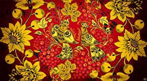Fotos Vögel Textur Russische Khokhloma