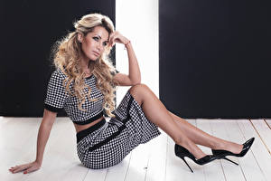 Image Blonde girl Sitting High heels Skirt Glance Girls