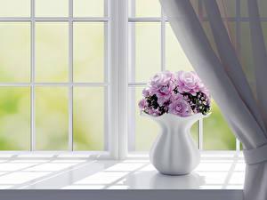 Bilder Blumensträuße Rose Fenster Vase 3D-Grafik Blumen