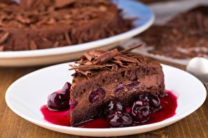 Fotos Torte Kirsche Schokolade Stück