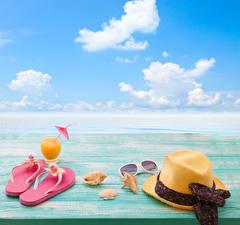 Pictures Coast Shells Juice Sky Hat Flip-flops Glasses Stemware Clouds