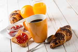 Pictures Coffee Croissant Bread Powidl Juice Wood planks Breakfast Cup Food