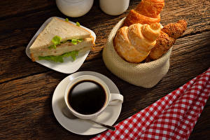 Pictures Coffee Croissant Sandwich Wood planks Breakfast Cup