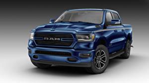 Hintergrundbilder Dodge Grauer Hintergrund Pick-up Blau 2018 Ram 1500 Big Horn Crew Cab Moparized