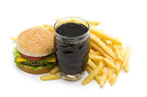 Pictures Drinks French fries Hamburger Buns Fast food White background Highball glass Food
