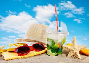 Bilder Getränk Handtuch Mojito Strand Sand Der Hut Brille Trinkglas