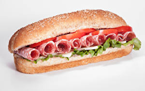 Photo Fast food Sandwich Buns Sausage Vegetables White background Food