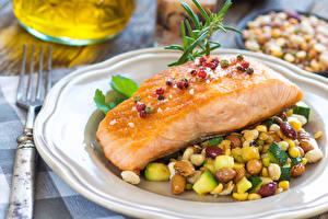 Fotos Fische - Lebensmittel Gemüse Teller Lebensmittel