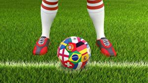 Fotos Fußball Gras Ball Bein Sport 3D-Grafik