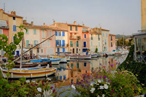 Images France Building Berth Boats Canal Martigues Cities