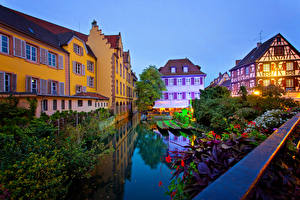 Images France Houses Berth Evening Canal Colmar Cities