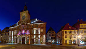 Wallpaper France Houses Street Night time Street lights Weissenburg Alsace Cities