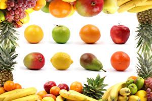 Fotos Obst Äpfel Birnen Orange Frucht Avocado Zitrone Weintraube Bananen Weißer hintergrund das Essen