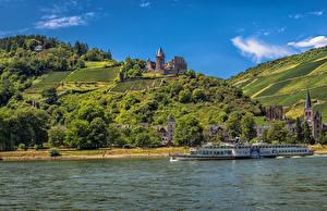 Hintergrundbilder Deutschland Haus Burg Flusse Binnenschiff Acker Bacharach Hügel Städte