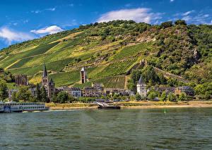 Bilder Deutschland Fluss Haus Seebrücke Felder Bacharach Hügel Städte