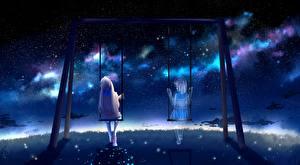 Papel de Parede Desktop Fantasma Baloiço Noite Sentados by lluluchwan Meninas
