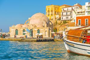 Fotos Griechenland Gebäude Seebrücke Chania port Crete Städte