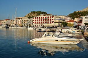 Fotos Griechenland Gebäude Schiffsanleger Motorboot Bucht Zakynthos Städte