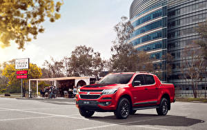 Hintergrundbilder Holden Rot Pick-up Metallisch 2016 Colorado Z71 Crew Cab Autos